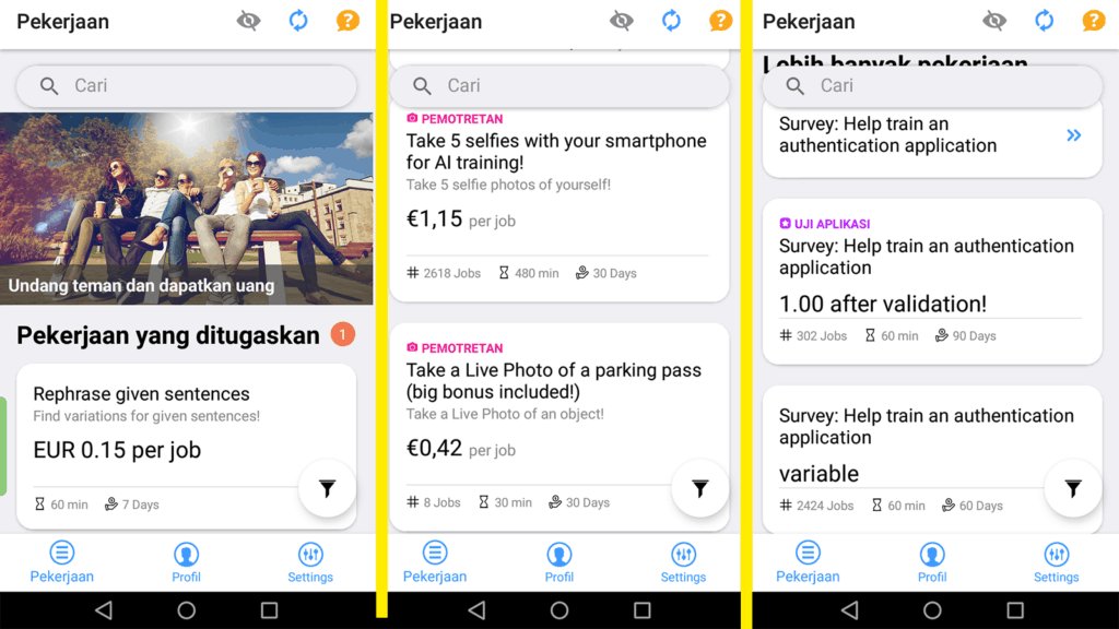 cara kerja clickworker di aplikasi android