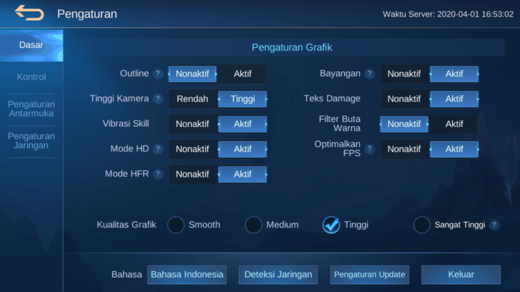 best setting mobile legends for Graphic