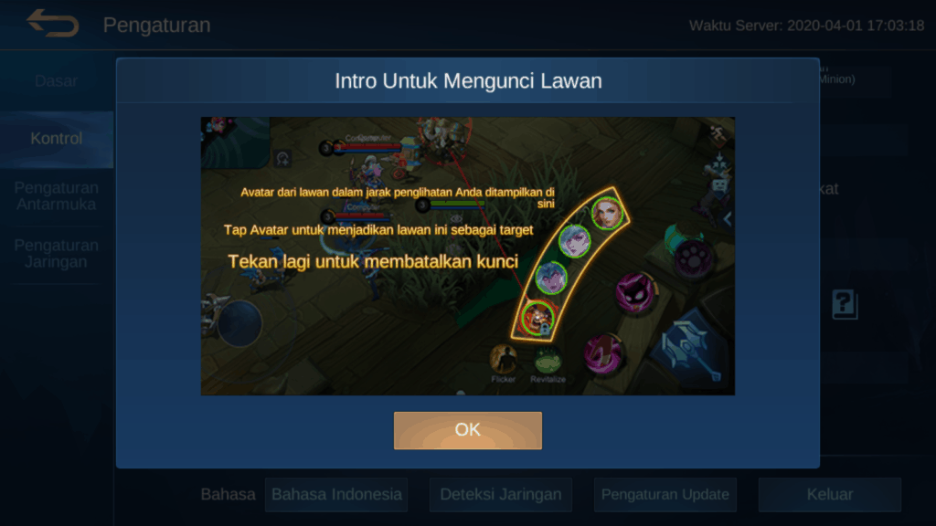 setting control mobile legends agar tidak lag