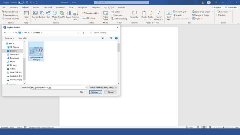 Cara Masukkan File KTP ke Word