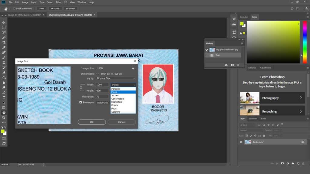 Cara Mengatur Ukuran KTP di Photoshop