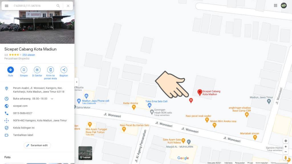 Cara mencari jam kerja dan alamat kantor Cabang SiCepat Ekspres terdekat