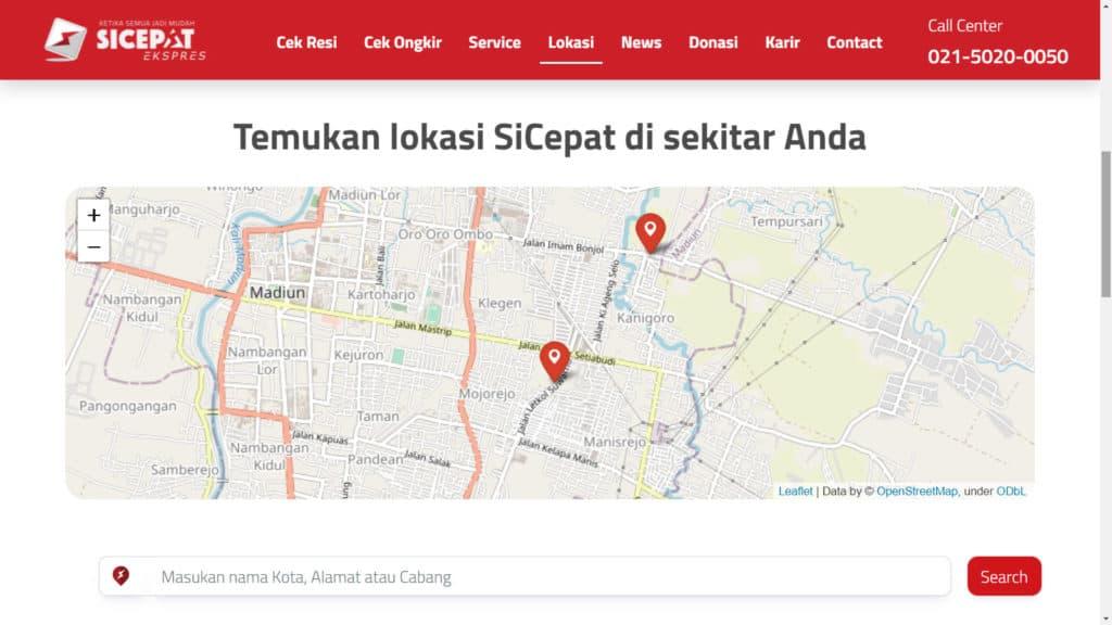 Mencari Kantor Sicepat Terdekat di Website SiCepat