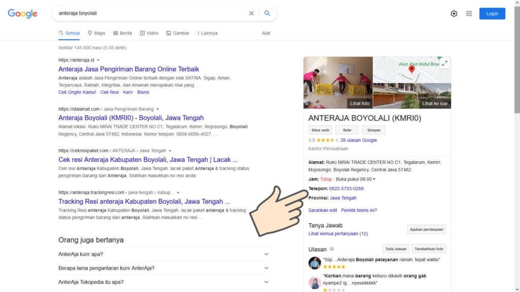 Mencari Alamat Staging Store Anteraja Dekat Rumah dengan Google Maps
