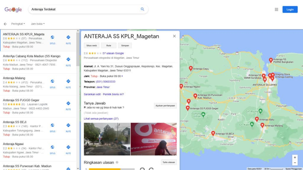 Mencari SS anteraja terdekat di Google Maps